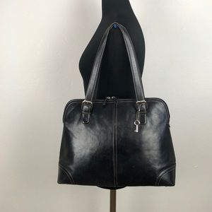 Fossil Black Leather Large Shoulder Bag